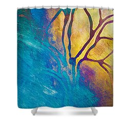Fire And Ice Abstract Tree Art  Shower Curtain