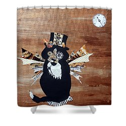 Steampunk Style Cat Art Tuxedo Cat Abstract Cat Painting Shower Curtain
