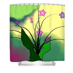 Abstract Violets Shower Curtain by GuoJun Pan
