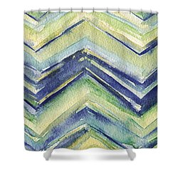 Abstract Watercolor Painting - Blue Yellow Green Chevron Pattern Shower Curtain