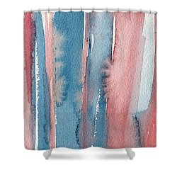Abstract Watercolor Painting - Coral And Teal Blue Medium Stripes Shower Curtain