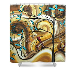 Abstract Whimsical Landscape Painting Home On The Range By Madart Shower Curtain by Megan Duncanson