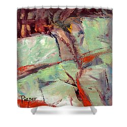 Abstract With Cadmium Red Shower Curtain