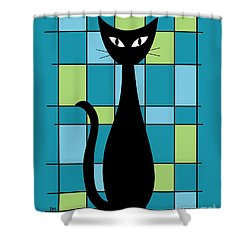 Abstract With Cat In Teal Shower Curtain