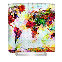 Abstract World Map Shower Curtain