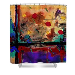 Abstract Yellow Horizontal Shower Curtain