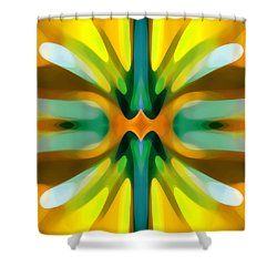 Abstract Yellowtree Symmetry Shower Curtain by Amy Vangsgard