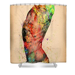 Abstractiv Body - 3 Shower Curtain by Mark Ashkenazi