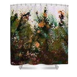 Abstrakt In Grun Shower Curtain