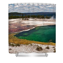 Shower Curtain featuring the photograph Abyss Pool And Yellowstone Lake by Sue Smith