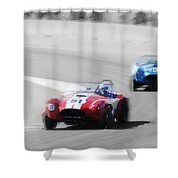 Ac Cobra Racing Monterey Watercolor Shower Curtain by Naxart Studio
