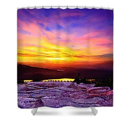 Acadia National Park Cadillac Mountain Sunrise Forsale Shower Curtain by Bob and Nadine Johnston