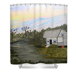 Acadian Home On The Bayou Shower Curtain