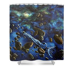 Accidental Asteroid Shower Curtain by Murphy Elliott