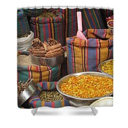 Shower Curtain featuring the photograph Acco Acre Israel Shuk Market Spices Stripes Bags by Paul Fearn