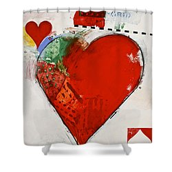 Shower Curtain featuring the painting Ace Of Hearts 8-52 by Cliff Spohn