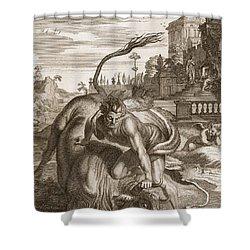 Achelous In The Shape Of A Bull Shower Curtain by Bernard Picart
