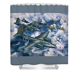 Achtung Zweimots Shower Curtain by Randy Green