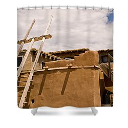 Acoma Building Shower Curtain by James Gay