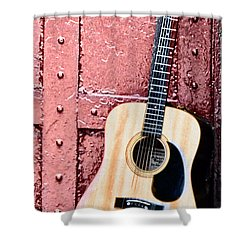 Acoustic Guitar And Red Door Shower Curtain by Bill Cannon