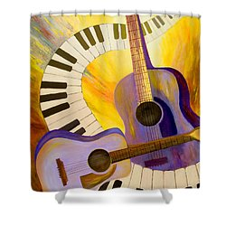 Acoustics In Space Shower Curtain by Larry Martin