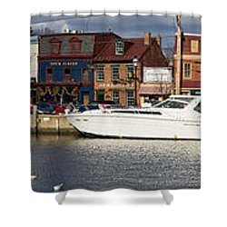 Across Ego Alley Panorama Shower Curtain by Benjamin Reed