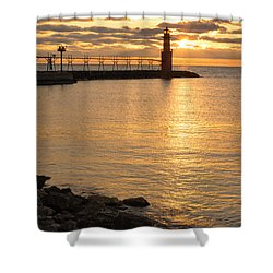 Across The Harbor Shower Curtain by Bill Pevlor