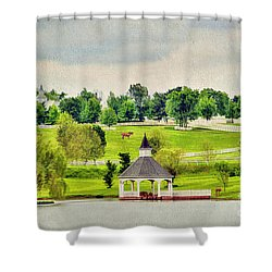 Across The Pond Shower Curtain by Darren Fisher