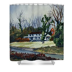 Across The Railroad Shower Curtain by Janet Felts