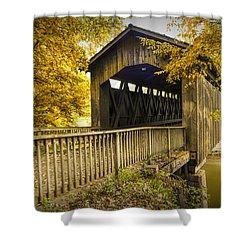 Ada Covered Bridge In Autumn Shower Curtain