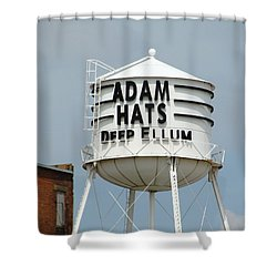 Shower Curtain featuring the photograph Adam Hats In Deep Ellum by Charlie and Norma Brock