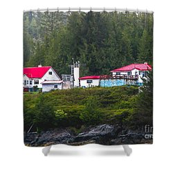 Addenbroke Island Lighthouse Shower Curtain by Robert Bales