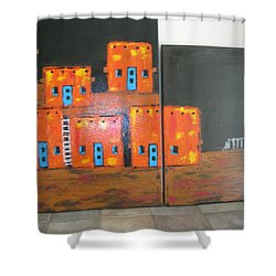 Shower Curtain featuring the painting Adobes by Sharyn Winters