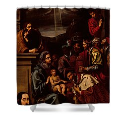 Adoration Of The Magi Shower Curtain by Unknown