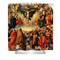 Adoration Of The Trinity Shower Curtain by Albrecht Durer