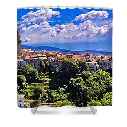 Adriatic Town Of Vrbnik Panoramic View Shower Curtain