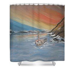 Shower Curtain featuring the painting Adrift by Teresa White