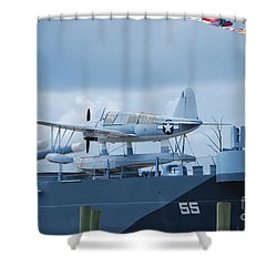 Battleship Advance Craft Shower Curtain by Bob Sample