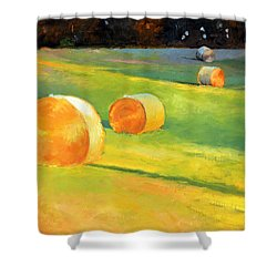 Advance Mills Hall Bales Shower Curtain by Catherine Twomey