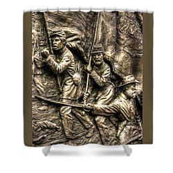 Advancing The Colors - State Of Delaware Monument Gettysburg Detail-a Autumn Mid-day Shower Curtain by Michael Mazaika