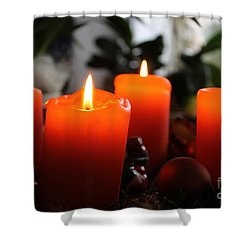 Shower Curtain featuring the photograph Advent Candles Christmas Candle Light by Paul Fearn