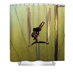 Aerial Acrobatic Artistry2  Shower Curtain by Anne Mott