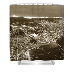 Aerial  Of Monterey Calif. Oct. 25 1934 Shower Curtain