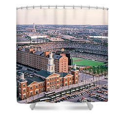 Aerial View Of A Baseball Field Shower Curtain