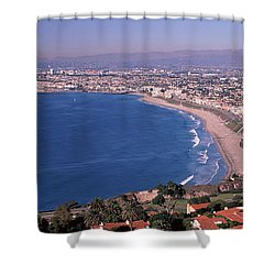 Aerial View Of A City At Coast, Santa Shower Curtain