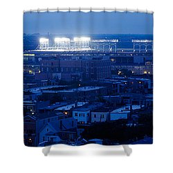 Aerial View Of A City, Wrigley Field Shower Curtain by Panoramic Images