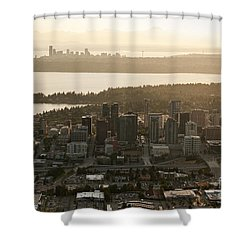 Aerial View Of Bellevue Skyline Shower Curtain
