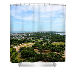 Aerial View Of Corolla North Carolina Outer Banks Obx Shower Curtain by Design Turnpike
