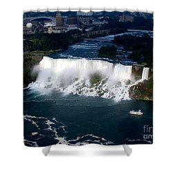 Aerial View Of Niagara Falls And River And Maid Of The Mist Shower Curtain by Rose Santuci-Sofranko