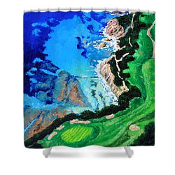 Aerial View Of Pebble Beach Shower Curtain by John Lautermilch
